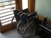 Rental wheelchair in the ruins of Sendai / Aoba Castle