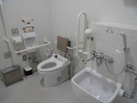 Wheelchair-accessible bathroom in 21stCentury Museum of Contemporary Art, Kanazawa